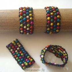 """B 185 Bracelet en graines """"achira"""" teintées"""