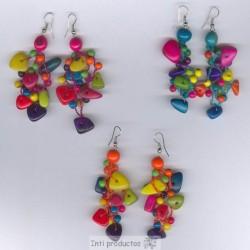 BO203 Boucles rocailles de Tagua colorées