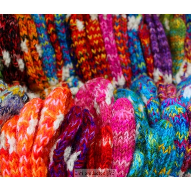 Moufles enfant colorés en laine du Pérou tricotés à la main pas cher. 2f1f54264c7