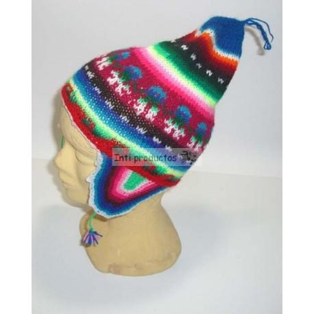 6bf8c648acc achat bonnet à oreilles colorés du Pérou en laine acrylique pas cher.
