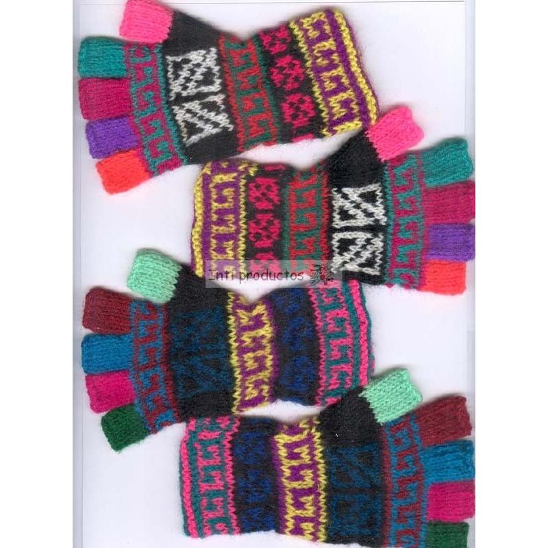 Gants pour enfant colorés en laine du Pérou tricotés à la main. 23064d20b99