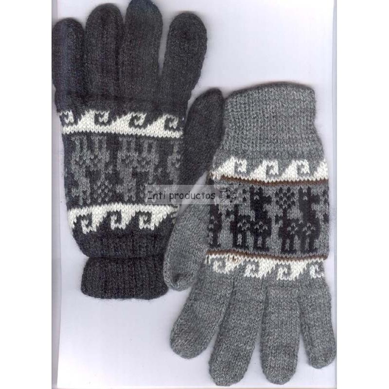 Gants en laine du Pérou tricotés à la machine. 8e7ccd0ef7a