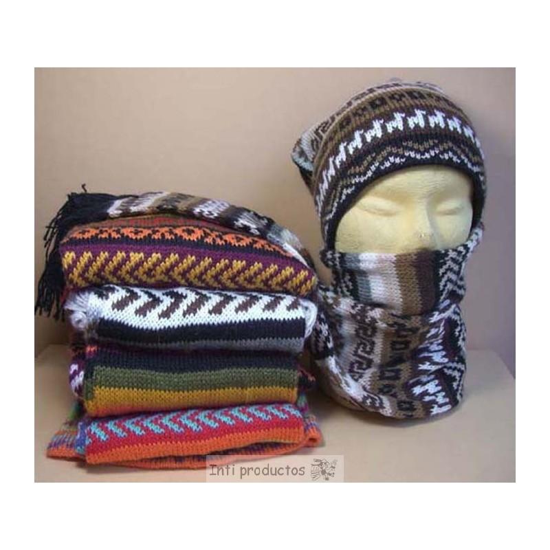 Bonnet et écharpe à la fois en laine du Pérou. 5d03bc2949f